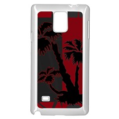 Red And Grey Silhouette Palm Tree Samsung Galaxy Note 4 Case (white)