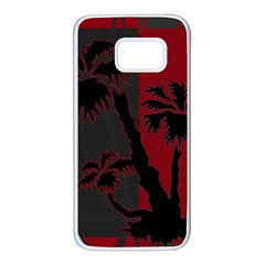 Red And Grey Silhouette Palm Tree Samsung Galaxy S7 White Seamless Case