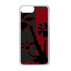 Red And Grey Silhouette Palm Tree Apple Iphone 7 Plus Seamless Case (white)
