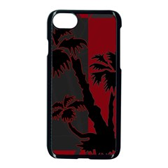 Red And Grey Silhouette Palm Tree Apple Iphone 7 Seamless Case (black)