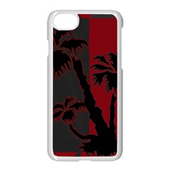 Red And Grey Silhouette Palm Tree Apple Iphone 7 Seamless Case (white)