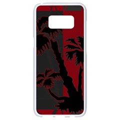 Red And Grey Silhouette Palm Tree Samsung Galaxy S8 White Seamless Case