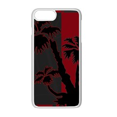 Red And Grey Silhouette Palm Tree Apple Iphone 8 Plus Seamless Case (white)