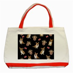 Queen Elizabeth s Corgis Pattern Classic Tote Bag (red) by Valentinaart