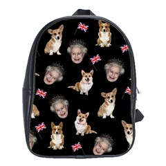 Queen Elizabeth s Corgis Pattern School Bag (large) by Valentinaart