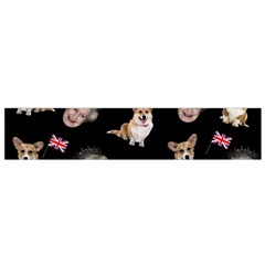 Queen Elizabeth s Corgis Pattern Small Flano Scarf by Valentinaart