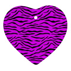 Hot Neon Pink And Black Tiger Stripes Ornament (heart) by PodArtist