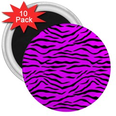 Hot Neon Pink And Black Tiger Stripes 3  Magnets (10 Pack)  by PodArtist