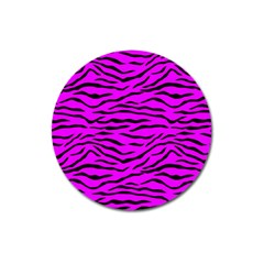 Hot Neon Pink And Black Tiger Stripes Magnet 3  (round) by PodArtist