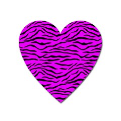 Hot Neon Pink And Black Tiger Stripes Heart Magnet