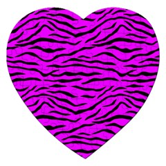 Hot Neon Pink And Black Tiger Stripes Jigsaw Puzzle (heart) by PodArtist