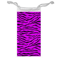 Hot Neon Pink And Black Tiger Stripes Jewelry Bags by PodArtist