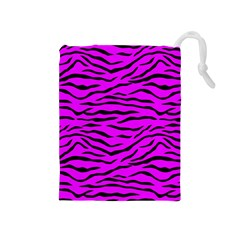 Hot Neon Pink And Black Tiger Stripes Drawstring Pouches (medium)  by PodArtist