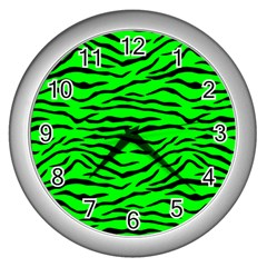 Bright Neon Green And Black Tiger Stripes  Wall Clocks (silver)  by PodArtist
