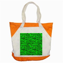 Bright Neon Green And Black Tiger Stripes  Accent Tote Bag by PodArtist