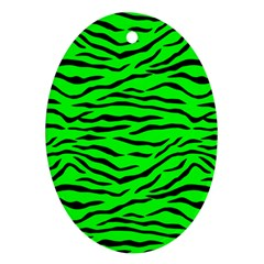 Bright Neon Green And Black Tiger Stripes  Oval Ornament (two Sides)