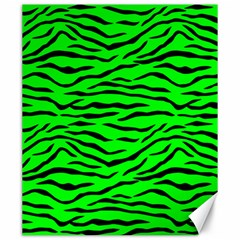 Bright Neon Green And Black Tiger Stripes  Canvas 20  X 24   by PodArtist
