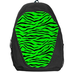 Bright Neon Green And Black Tiger Stripes  Backpack Bag by PodArtist