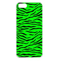Bright Neon Green And Black Tiger Stripes  Apple Iphone 5 Seamless Case (white) by PodArtist