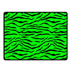 Bright Neon Green And Black Tiger Stripes  Double Sided Fleece Blanket (small)  by PodArtist
