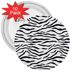 Black And White Tiger Stripes 3  Buttons (10 Pack)  by PodArtist
