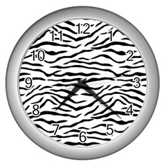 Black And White Tiger Stripes Wall Clocks (silver)  by PodArtist