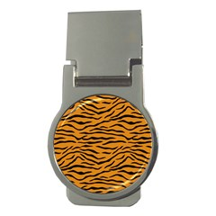 Orange And Black Tiger Stripes Money Clips (round)  by PodArtist