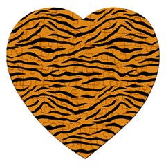Orange And Black Tiger Stripes Jigsaw Puzzle (heart) by PodArtist