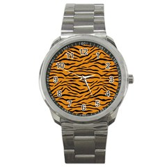 Orange And Black Tiger Stripes Sport Metal Watch by PodArtist