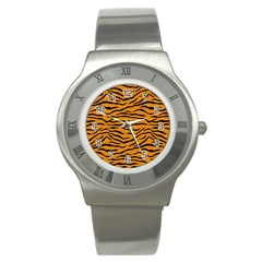 Orange And Black Tiger Stripes Stainless Steel Watch by PodArtist