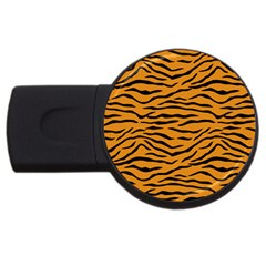 Orange And Black Tiger Stripes Usb Flash Drive Round (4 Gb) by PodArtist