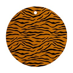 Orange And Black Tiger Stripes Round Ornament (two Sides) by PodArtist