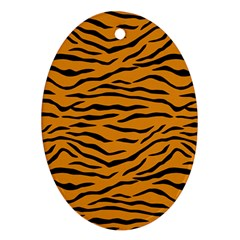 Orange And Black Tiger Stripes Oval Ornament (two Sides) by PodArtist