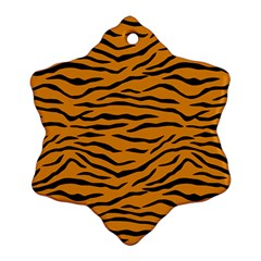 Orange And Black Tiger Stripes Ornament (snowflake) by PodArtist