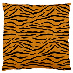 Orange And Black Tiger Stripes Large Cushion Case (one Side) by PodArtist