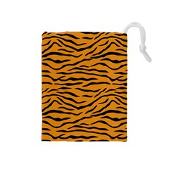 Orange And Black Tiger Stripes Drawstring Pouches (medium)  by PodArtist