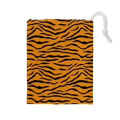 Orange And Black Tiger Stripes Drawstring Pouches (large)  by PodArtist