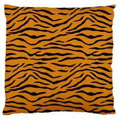 Orange And Black Tiger Stripes Large Flano Cushion Case (one Side) by PodArtist