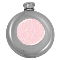 Elios Shirt Faces In White Outlines On Pale Pink Cmbyn Round Hip Flask (5 Oz) by PodArtist