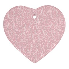 Elios Shirt Faces In White Outlines On Pale Pink Cmbyn Heart Ornament (two Sides) by PodArtist