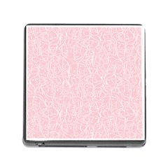 Elios Shirt Faces In White Outlines On Pale Pink Cmbyn Memory Card Reader (square) by PodArtist