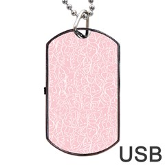 Elios Shirt Faces In White Outlines On Pale Pink Cmbyn Dog Tag Usb Flash (one Side) by PodArtist