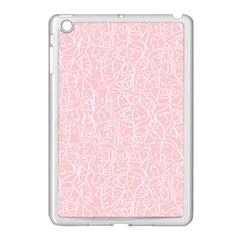 Elios Shirt Faces In White Outlines On Pale Pink Cmbyn Apple Ipad Mini Case (white) by PodArtist