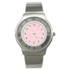 Elios Shirt Faces In White Outlines On Pale Pink Cmbyn Stainless Steel Watch by PodArtist