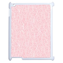 Elios Shirt Faces In White Outlines On Pale Pink Cmbyn Apple Ipad 2 Case (white) by PodArtist