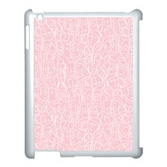 Elios Shirt Faces In White Outlines On Pale Pink Cmbyn Apple Ipad 3/4 Case (white) by PodArtist