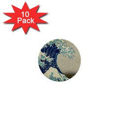 The Classic Japanese Great Wave Off Kanagawa By Hokusai 1  Mini Buttons (10 Pack)  by PodArtist
