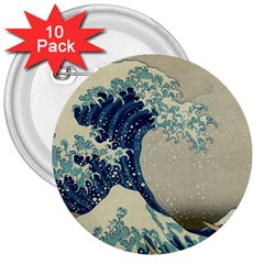 The Classic Japanese Great Wave Off Kanagawa By Hokusai 3  Buttons (10 Pack)  by PodArtist