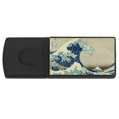 The Classic Japanese Great Wave Off Kanagawa By Hokusai Rectangular Usb Flash Drive by PodArtist