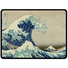 The Classic Japanese Great Wave Off Kanagawa By Hokusai Fleece Blanket (large)  by PodArtist